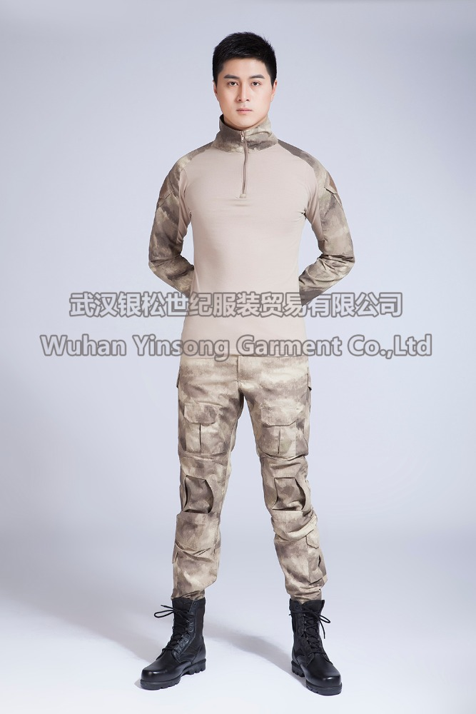 [Wuhan YinSong] Army Combat Shirt In Frog Style With ACU Pants Fabric 65% Polyester 35% Cotton American Army Uniform