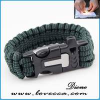Sha-multifunctional adjustable buckles paracord bracelet with fire starter with whistle width 2.3cm length 122cm