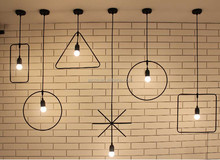 Modern Pendant Light Vintage Industrial Lamp Square Round Metal Wood Decorative Hanging Pendant Light