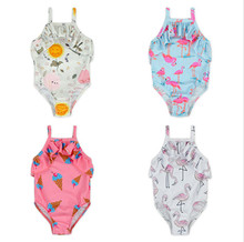YZA-021 Yiwu Yihong Stylish Toddle Girls Printed Pattern One Piece Ruffle Harness Beautiful Girls Bikini Swimsuit Picture