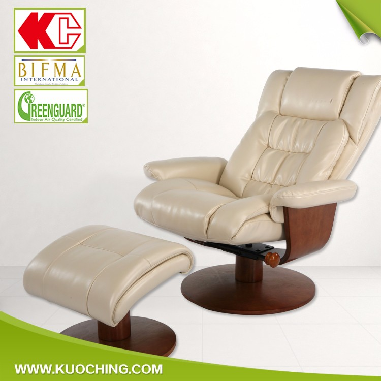Best Option Pained Wooden Ergonomic Rotating Leather Lounge Chair