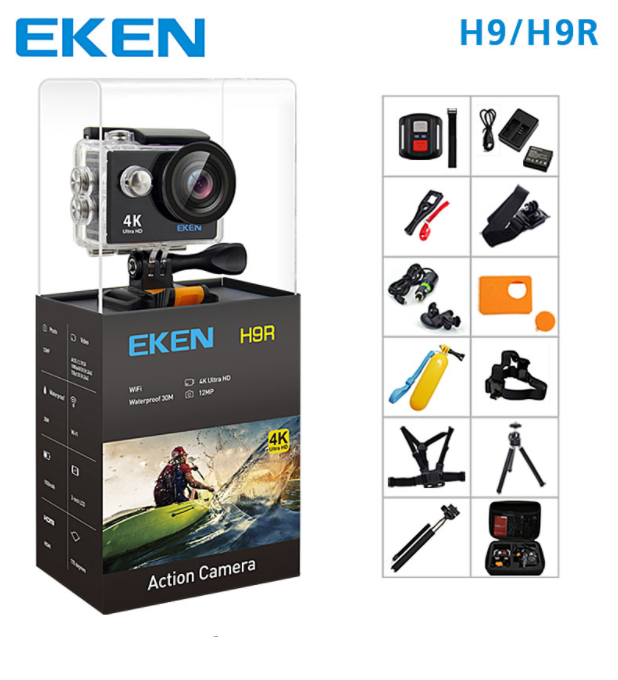 100% Original EKEN H9/H9R remote control action camera 4K wifi Ultra HD 1080p 60fps 170D waterproof camera sports mini camera.