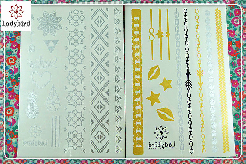 fashion design Metallic Temporary Tattoos,foil tattoo,metallic tattoo flash tattoo