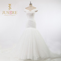 Newest Floor Length Criss Cross Pleat Shoulder Sleeveless Ivory Tulle Mermaid Bling Wedding Dresses 2016