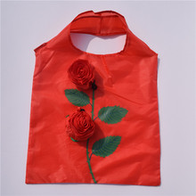 Polyester shopping bag folding shopping bag cheap rose design shopping bag