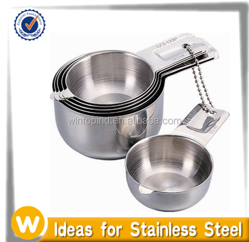 6 -piece Stainless Steel Measuring Cup Set , 18/8 Measuring cups set ,Measuring cups stainless steel