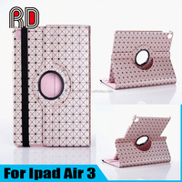 New Fashion Lychee Emboss Network Cable Rotating Stand Holder Flip Protective Table Case for Ipad Air 3