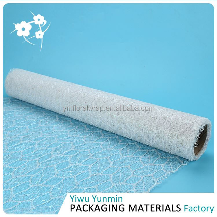 Most popular custom design Glitter Maple Leaves mesh floral wrapping packing paper