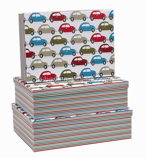 Kid Print Gift Boxes - Cars - 3 Large Rect (Foil)