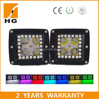 off road 4x4 led pods halo ring 3'' rgb led cube truck led light pods with halos