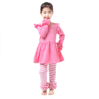 bulk wholesale pink stripe clothing long sleeve ruffle children clothes for girls set