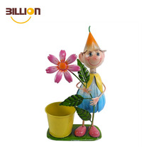 Garden Cartoon Boy Planter Iron Flower Pot
