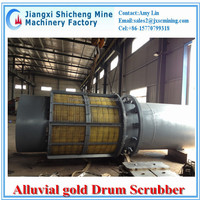 gold washing trommel scrubber with PU screen mesh rubber wheel transmission