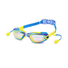 Cool Mirrored Anti Fog Children's Swim Goggle with Conjoined Earplug