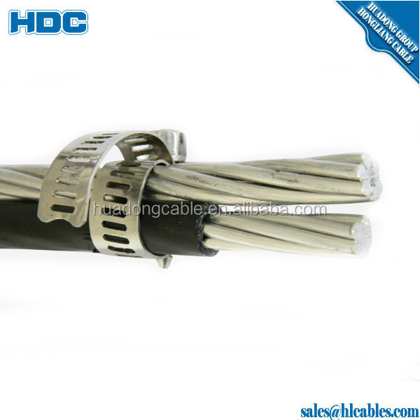 LV 2*16 twisted service drop cables aluminium conductor xlpe/pvc insulated URD cable  AACneutral