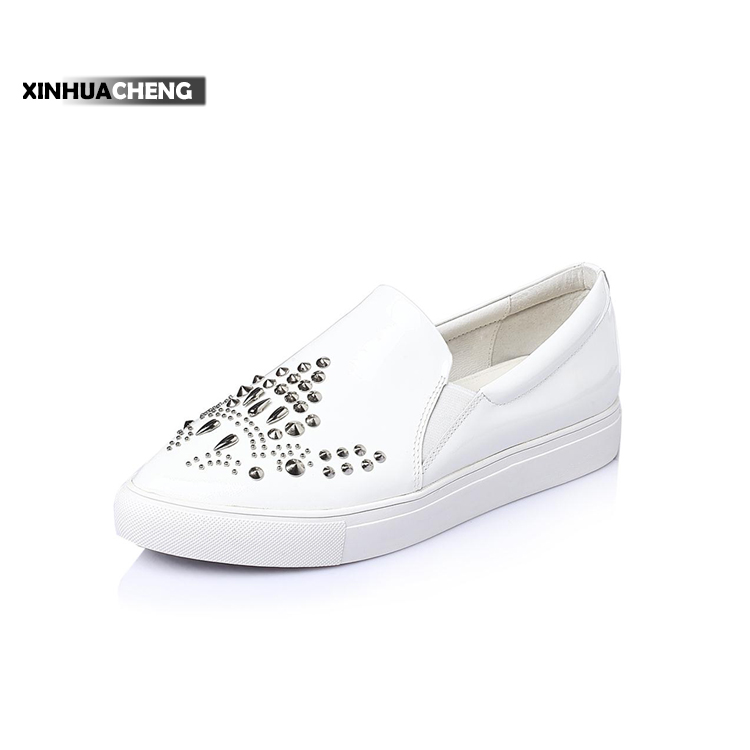 Fashion design cowhide loafer casual shoe for girls
