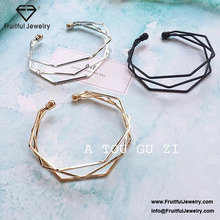 Minimalist style many-sided diamond shaped opening Bracelet thin bangles with charms bulk buy from china ladies bracelet designs