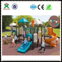 2015 QIXIN Amusement park play toys outdoor for kids/children plastic outdoor playground (QX-006C)equipment for sale
