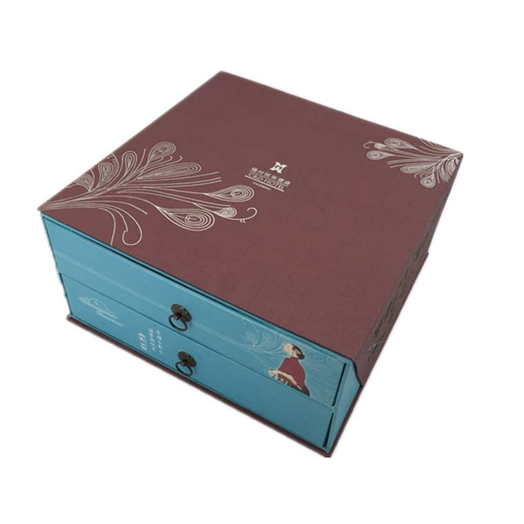 custom logo printed kraft paper packaging drawer box