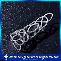 Custom made nice and fashion low price modern style finger knuckle ring full diamond ring R0345