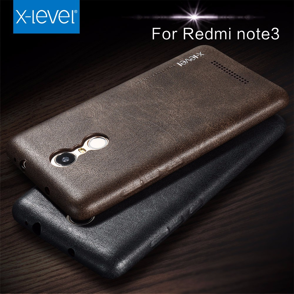 Xlevel Wholesale Luxury Vintage leather Back Cover for Xiaomi Redmi Note 3 Cases