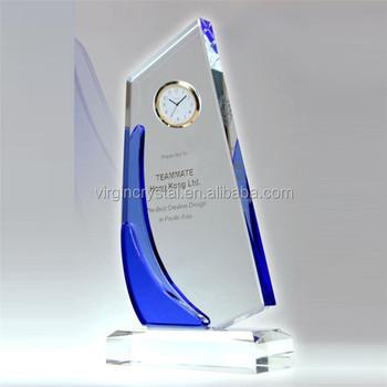 Wholesale customized crystal sailboat trophy with clock for business gift