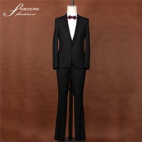 Mens wedding suits Black slim fit wool polyester fashion Men's suit for wedding
