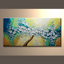 Newest Design Handmade Picture Canvas Knife Flower Oil Painting For Bedroom