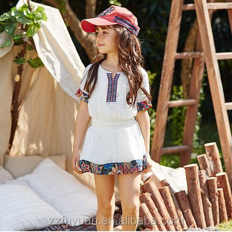 2016 high quality children national style girls summer embroidery dress