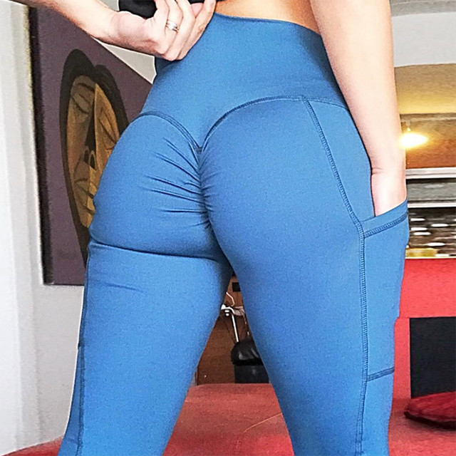 Women sexy fitness side pocket tight workout scrunch butt leggings for training