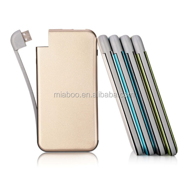 2015 Newest Arrival Built-in cable cheap power bank 6000mah big capacity super fast mobile phone charger for all mobile
