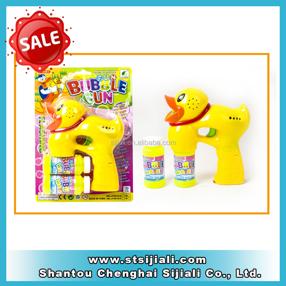 Cute BO musical big cartoon duck bubble gun with LED lights and 2 bottles of bubble solution