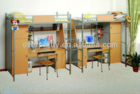 Commercial Steel Wood Bunk Bed with Desk