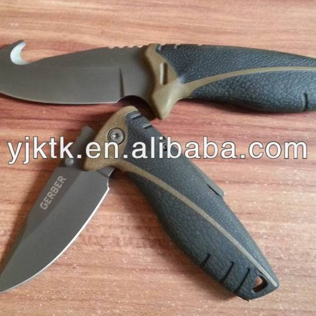 Best-Sell Rubber Handle Titanium Folding Hunting Knife, Folding Survival knife