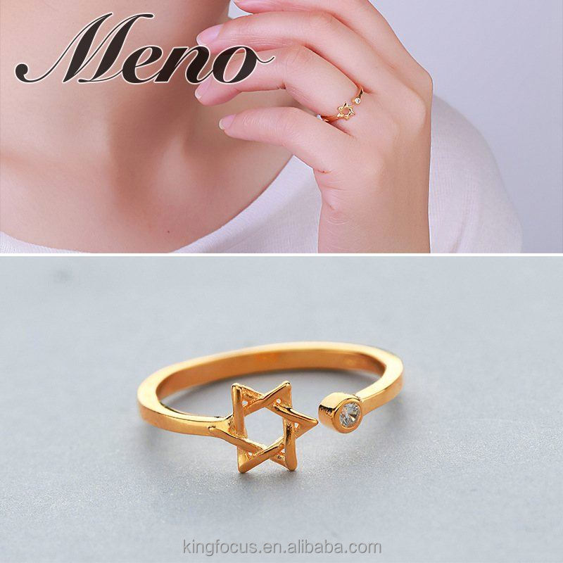 Meno S925 silver ring lady fashion angle starcircle opening