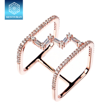 Factory Direct Sale 925 Sterling Silver Jewelry Square Double Finger Ring