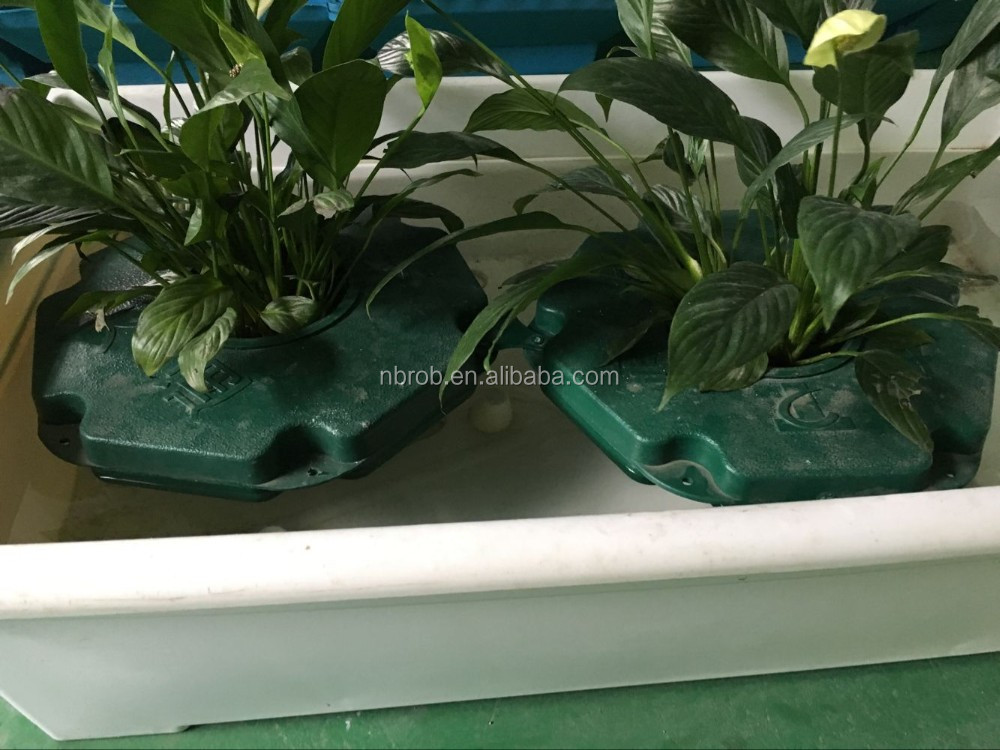 Hydroponic island gardens garden plastic floating plant for Floating plant pots