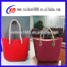 2016 New canvas rope silicone rubber bag silicone beach bag with zipper
