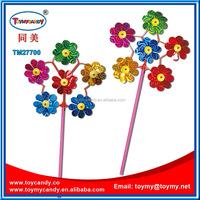 classical toys small decorative windmill wholesale price flower pinwheel diy paper toy windmill with candy for kids summer