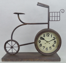 Rustic finish metal bicycle table clock
