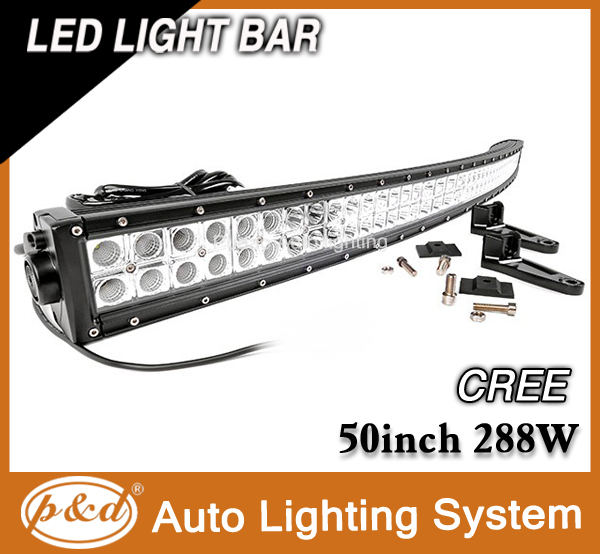 ISO standard cr ee 288w 50 inch curved offroad led light bars