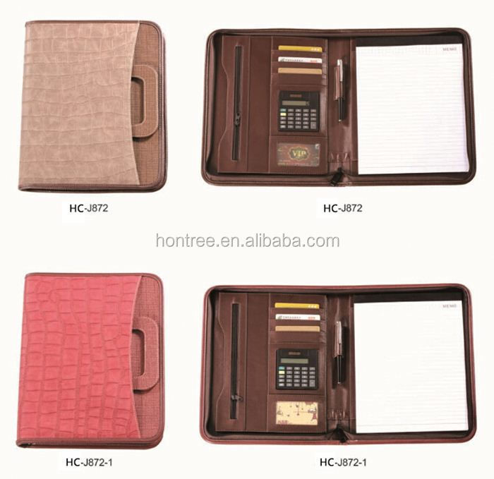 2014 HONTREE wholesale Leather drawing portfolio with Calculator for office