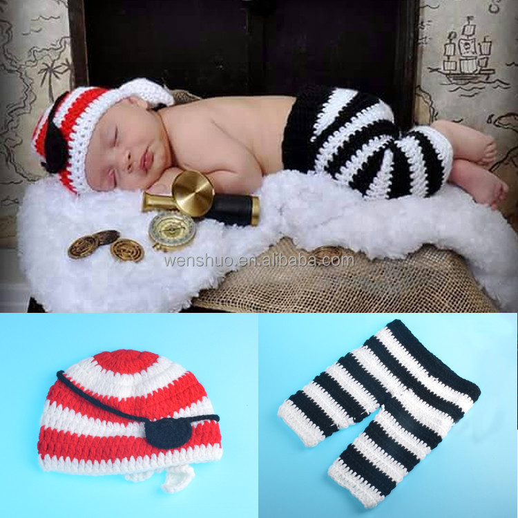 Baby Pirates Photography Suit Hnadwork Crochet Kids Caps