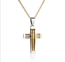 new gold chain design for men stainless steel gold unique cross pendant necklace