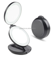 2 sides LED lighted travel hand bag makeup mirror / round folding mirror with 10X magnifying