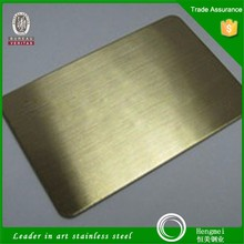 Good quality gold hairline 201 grade stainless steel plates for five star hotel