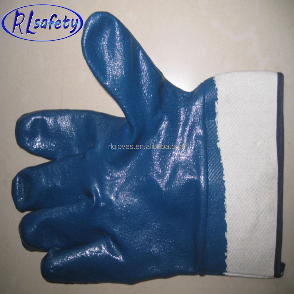 RUNLEI SAFETY full dipped nitrile coated working glove/nitrile winter gloves