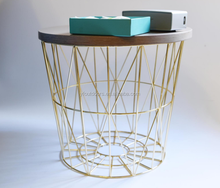 Iron wire base basket brass table coffee,custom made copper coffee table