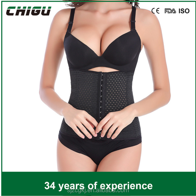 china Black Thick 3 Hook Waist Trainer Slimming Shaping Corset - Small - NEW