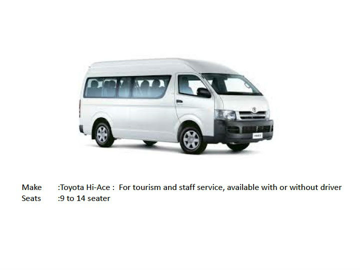 9 to 14 SEATER VAN -FOR LEASE/RENT